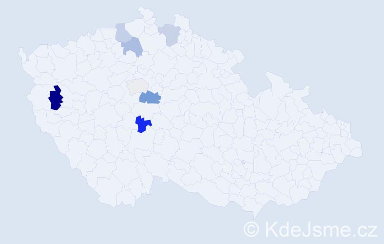 Příjmení: 'Grohoľová', počet výskytů 9 v celé ČR