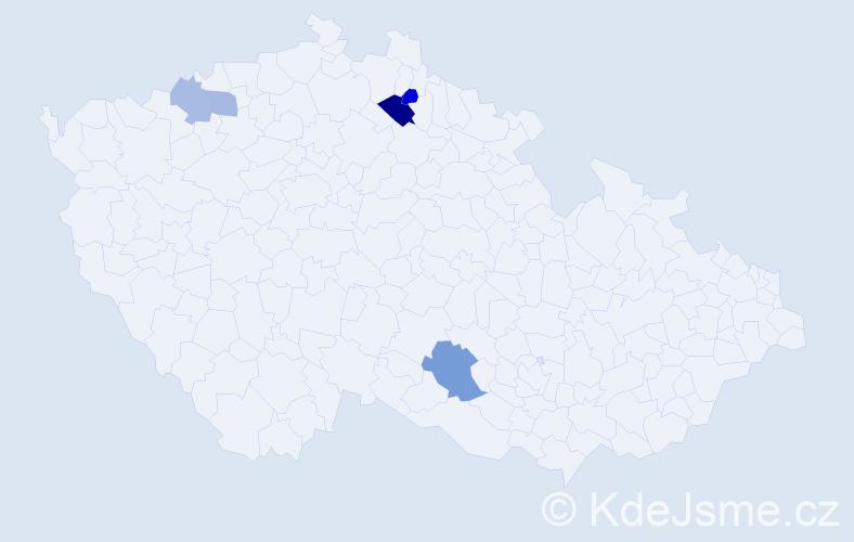 Příjmení: 'Časár', počet výskytů 8 v celé ČR