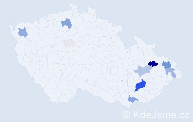 Příjmení: 'Blaž', počet výskytů 15 v celé ČR