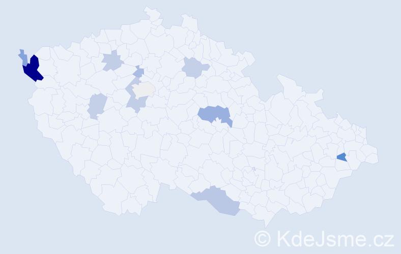 Příjmení: 'Čechvalová', počet výskytů 27 v celé ČR