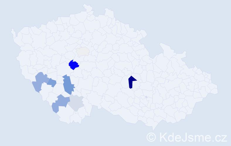 Příjmení: 'Handschuhová', počet výskytů 26 v celé ČR
