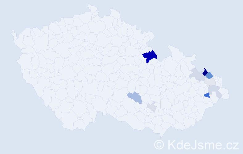 Příjmení: 'Haferová', počet výskytů 21 v celé ČR