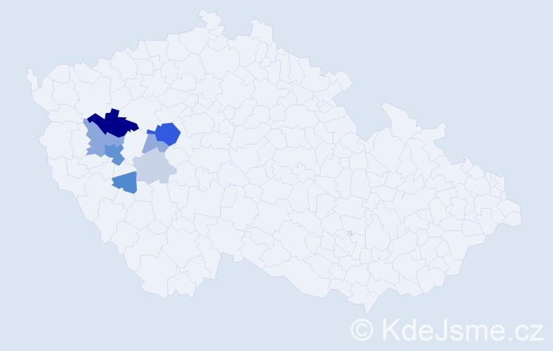 Příjmení: 'Herejtová', počet výskytů 24 v celé ČR
