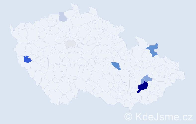 Příjmení: 'Bráníková', počet výskytů 17 v celé ČR