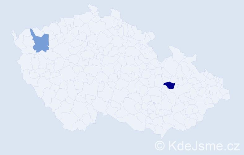 Příjmení: 'Končík', počet výskytů 6 v celé ČR