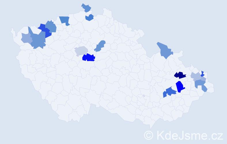 Příjmení: 'Kanis', počet výskytů 34 v celé ČR