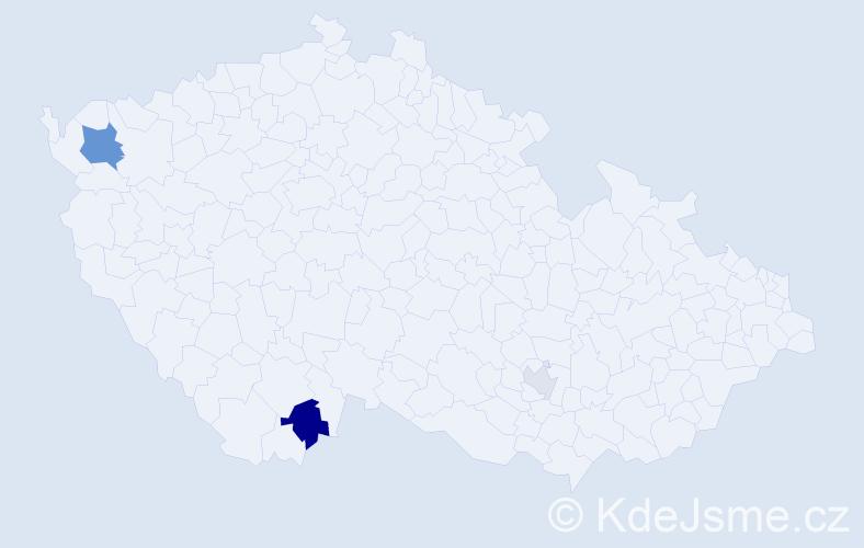 Příjmení: 'Gahír', počet výskytů 6 v celé ČR