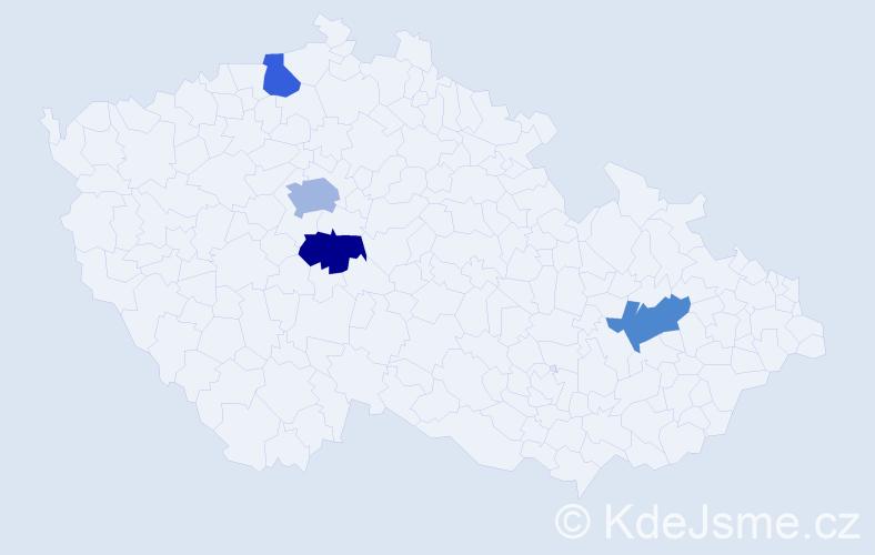 Příjmení: 'Hachranová', počet výskytů 5 v celé ČR