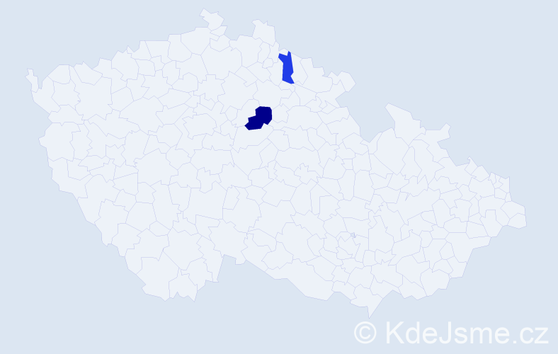 Příjmení: 'Ihrická', počet výskytů 3 v celé ČR