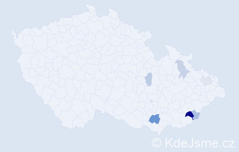 Příjmení: 'Červeňan', počet výskytů 15 v celé ČR