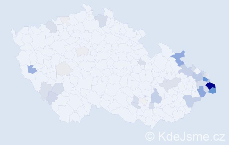 Příjmení: 'Bujoková', počet výskytů 169 v celé ČR