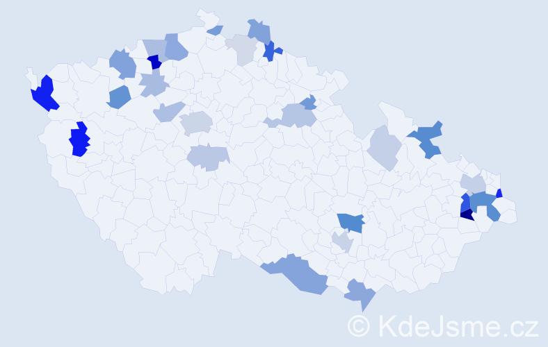 Příjmení: 'Hrivňáková', počet výskytů 75 v celé ČR