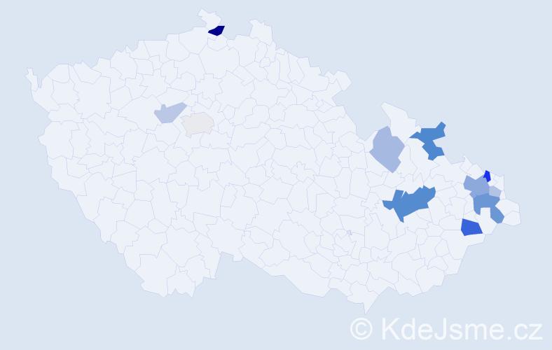 Příjmení: 'Kováček', počet výskytů 24 v celé ČR