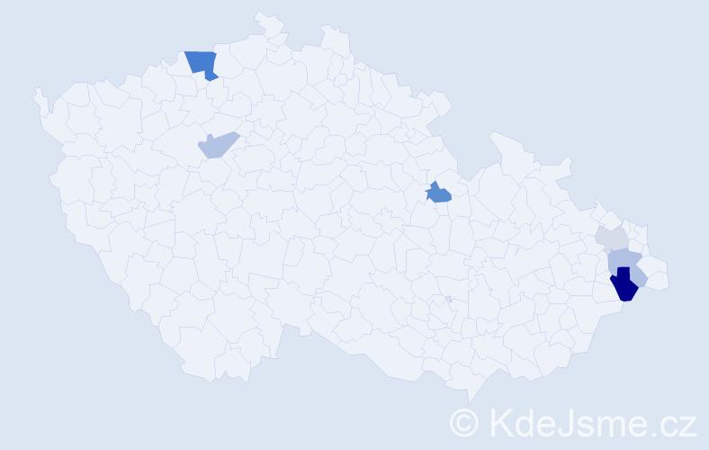 Příjmení: 'Kogutová', počet výskytů 10 v celé ČR