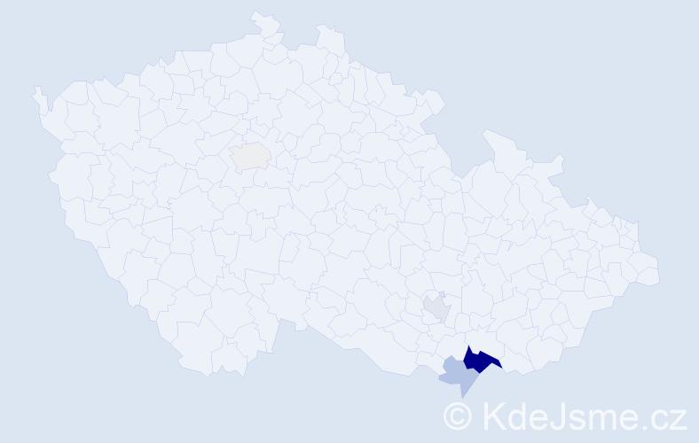 Příjmení: 'Bohůn', počet výskytů 21 v celé ČR
