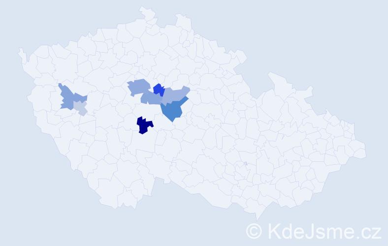 Příjmení: 'Čadinová', počet výskytů 19 v celé ČR
