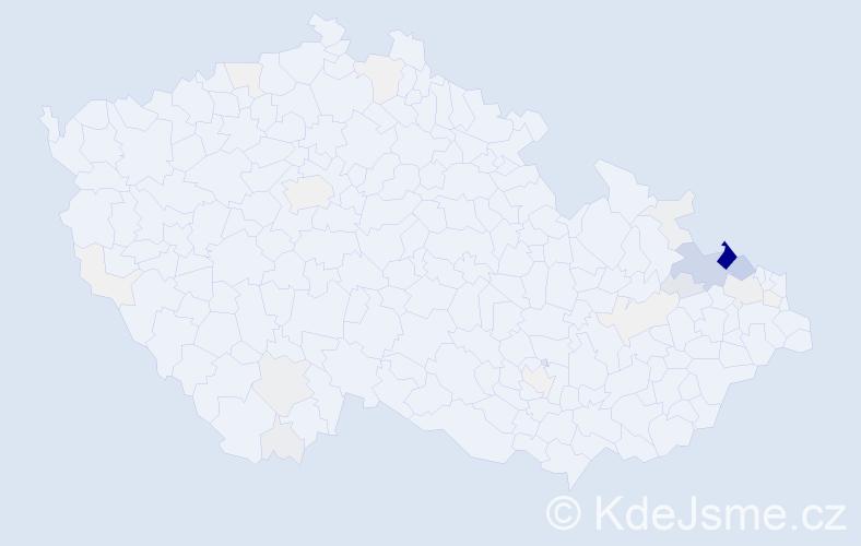 Příjmení: 'Kubný', počet výskytů 181 v celé ČR