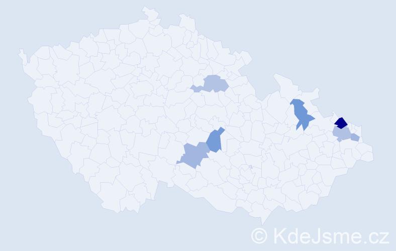 Příjmení: 'Jandátová', počet výskytů 10 v celé ČR