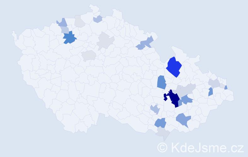 Příjmení: 'Klemeš', počet výskytů 100 v celé ČR