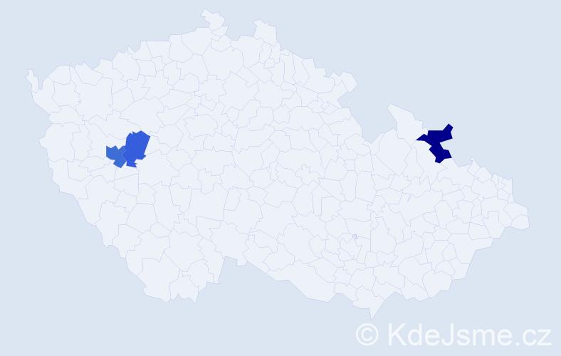 Příjmení: 'Frieslová', počet výskytů 10 v celé ČR