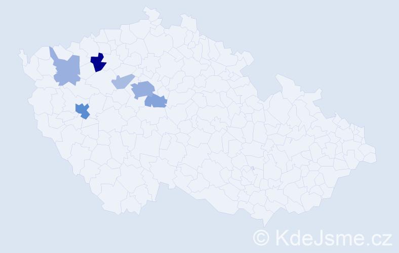 Příjmení: 'Blumentrit', počet výskytů 18 v celé ČR