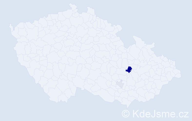 """Příjmení: '""""De Oliveira""""', počet výskytů 5 v celé ČR"""