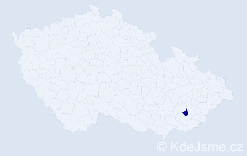 """Příjmení: '""""Bartošík Chrastinová""""', počet výskytů 1 v celé ČR"""
