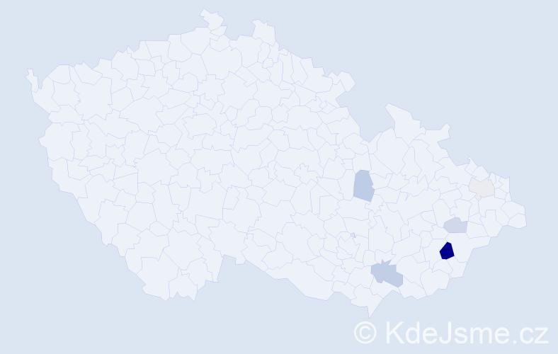 Příjmení: 'Dořmanová', počet výskytů 11 v celé ČR