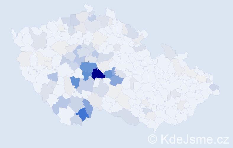 Příjmení: 'Kahoun', počet výskytů 516 v celé ČR
