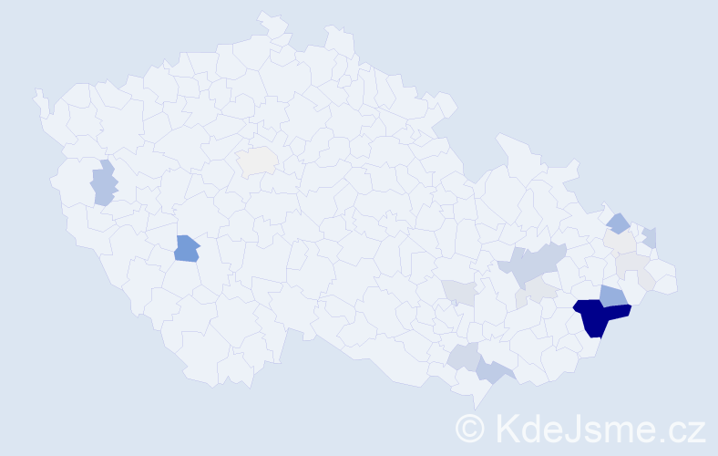 Příjmení: 'Čotková', počet výskytů 56 v celé ČR