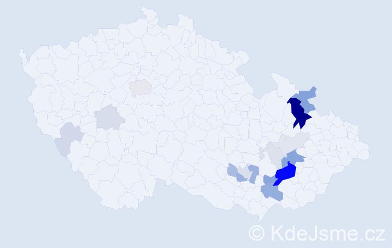 Příjmení: 'Hebnar', počet výskytů 53 v celé ČR