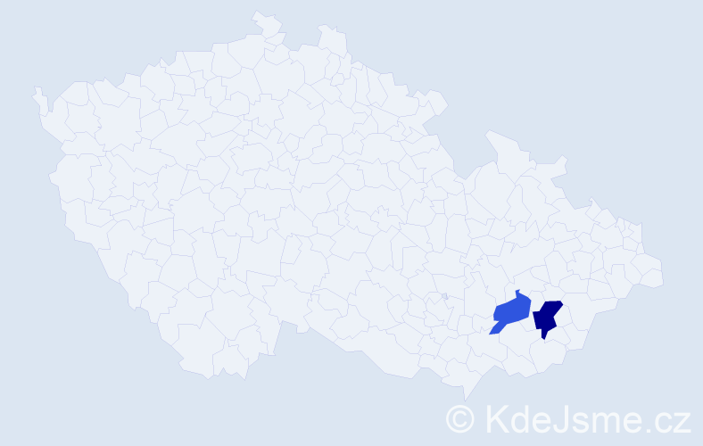 Příjmení: 'Cabániková', počet výskytů 3 v celé ČR