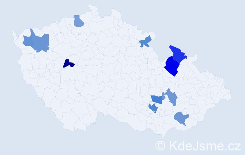 Příjmení: 'Bružeňák', počet výskytů 15 v celé ČR