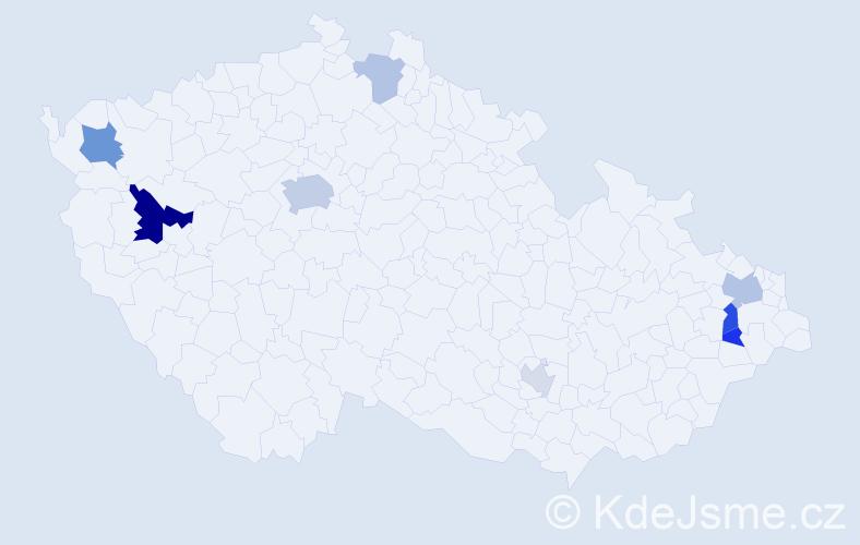 Příjmení: 'Bondra', počet výskytů 18 v celé ČR