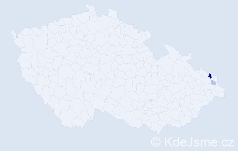 Příjmení: 'Cieśloková', počet výskytů 4 v celé ČR