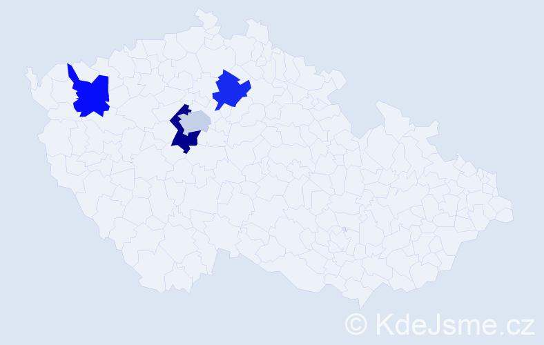 Příjmení: 'Čtyroký', počet výskytů 9 v celé ČR