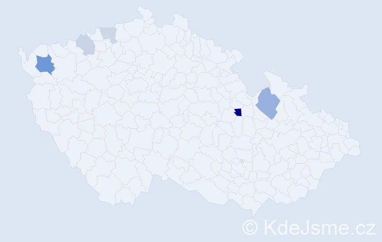 Příjmení: 'Kníř', počet výskytů 11 v celé ČR