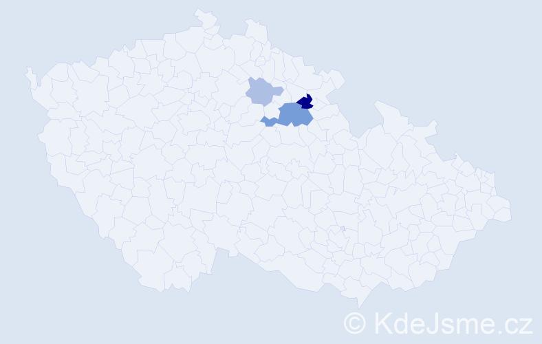 Příjmení: 'Kvašinská', počet výskytů 9 v celé ČR