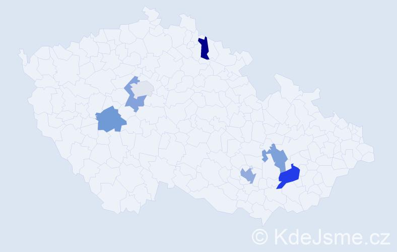 Příjmení: 'Karkan', počet výskytů 9 v celé ČR