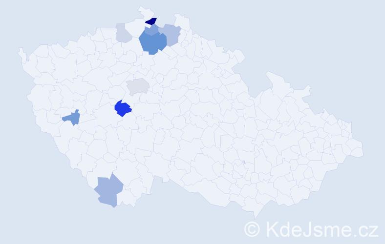 Příjmení: 'Haidlová', počet výskytů 19 v celé ČR