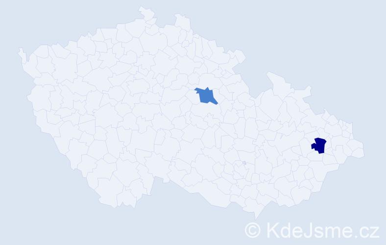 Příjmení: 'Beľan', počet výskytů 2 v celé ČR