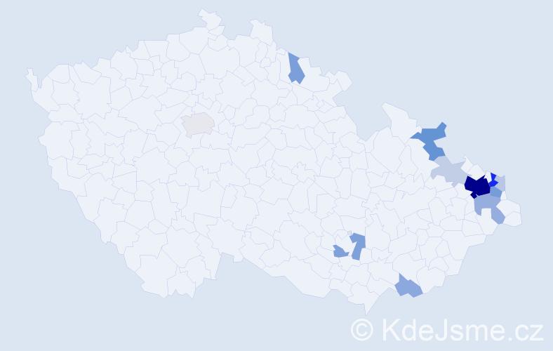 Příjmení: 'Korta', počet výskytů 44 v celé ČR