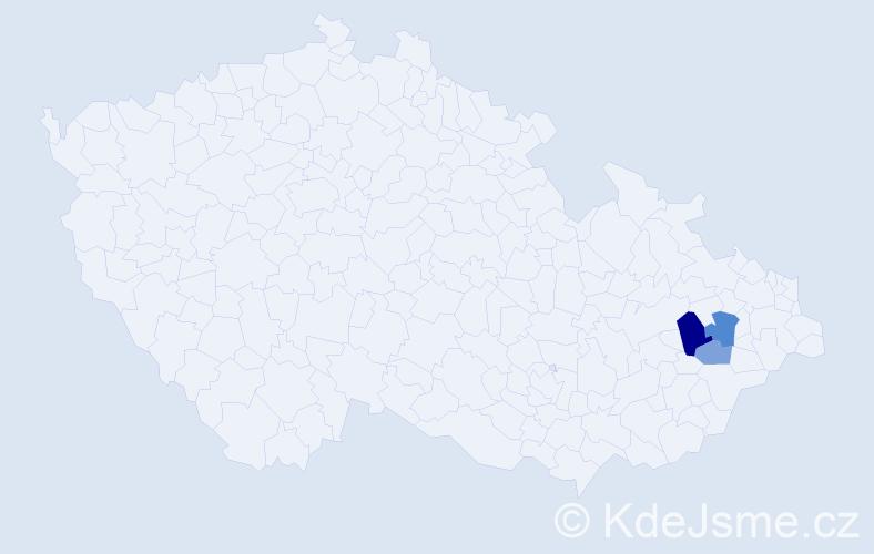 Příjmení: 'Hvorkový', počet výskytů 6 v celé ČR