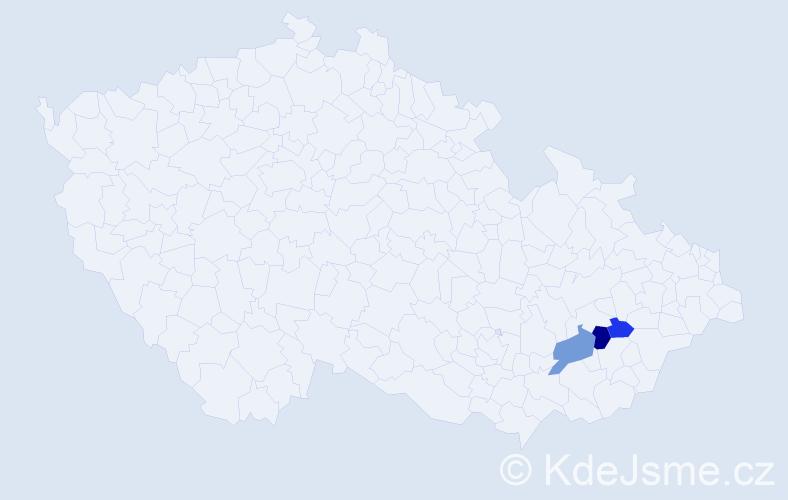 Příjmení: 'Ctiborek', počet výskytů 5 v celé ČR