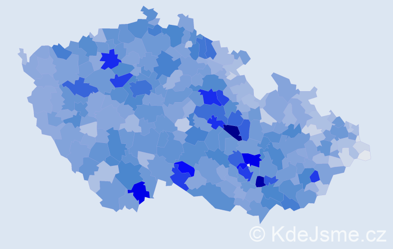 Příjmení: 'Kučerová', počet výskytů 15724 v celé ČR