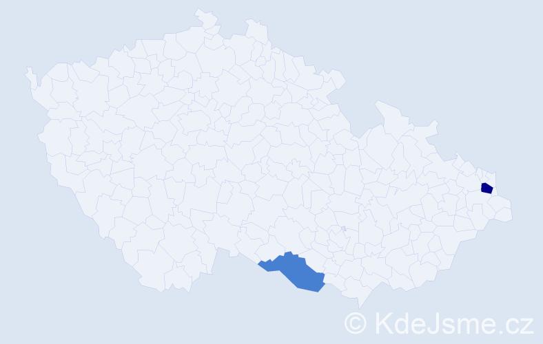 Příjmení: 'Kalarus', počet výskytů 3 v celé ČR