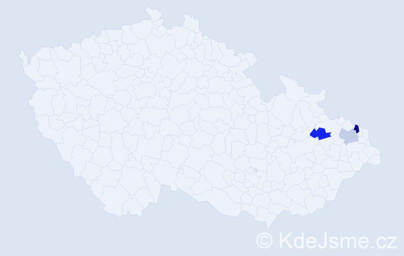 Příjmení: 'Kabara', počet výskytů 6 v celé ČR