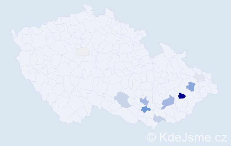 Příjmení: 'Čačalová', počet výskytů 20 v celé ČR