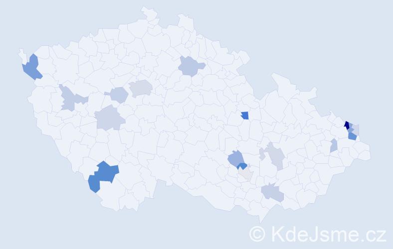 Příjmení: 'Bútorová', počet výskytů 42 v celé ČR
