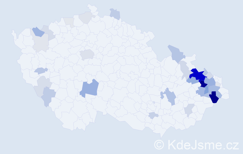 Příjmení: 'Kořený', počet výskytů 115 v celé ČR